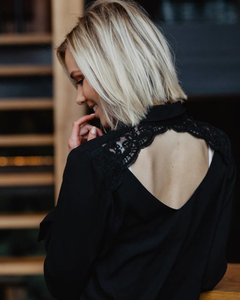 Lace Back Blouse Black