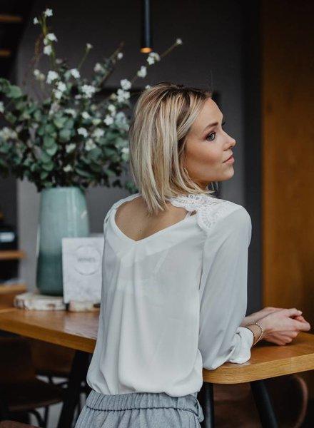 Lace Back Blouse  White