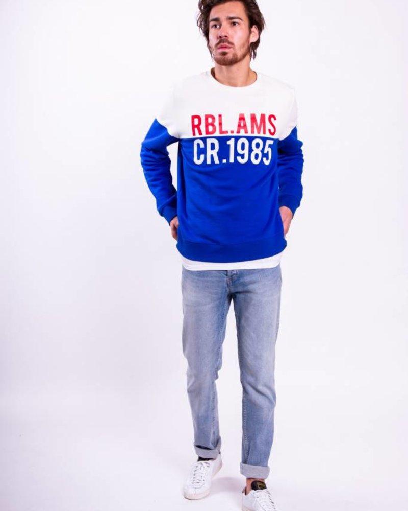 Basic Sweater RBL.AMS Block Men Cobalt White