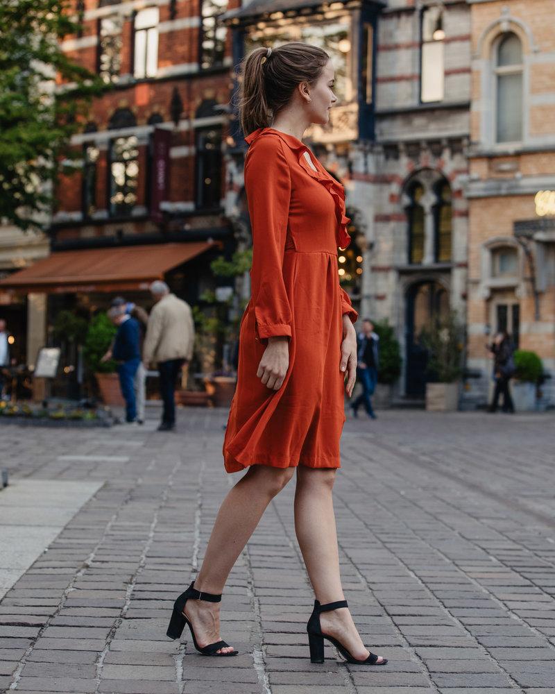 Classy Wrap Dress Brique