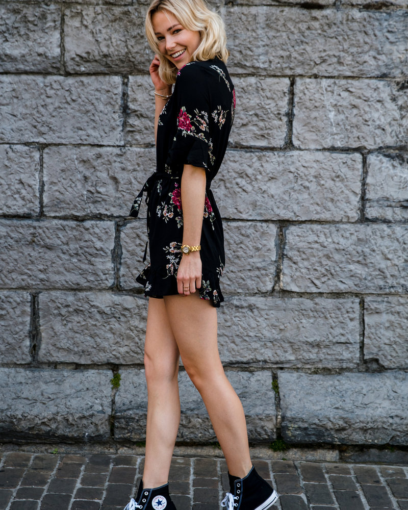 Pink Flowers Playsuit