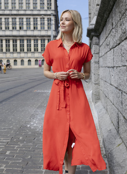 Maxi Collar Dress Red