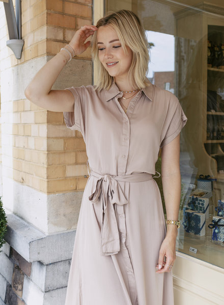 Maxi Collar Dress Beige