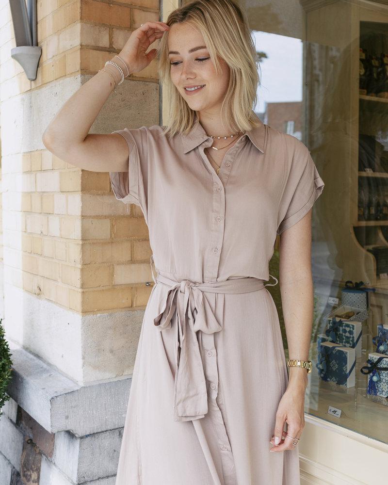 Maxi Collar Dress Beige