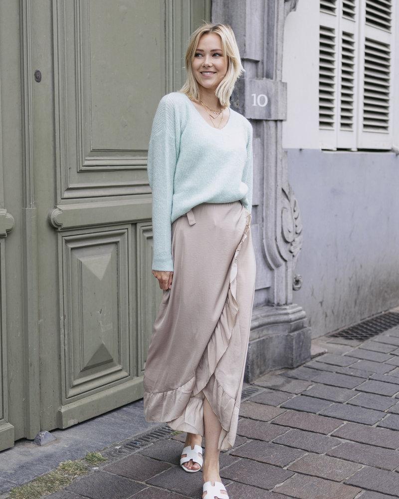 Satin Maxi Skirt Beige
