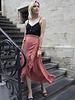 Satin Maxi Skirt Coral
