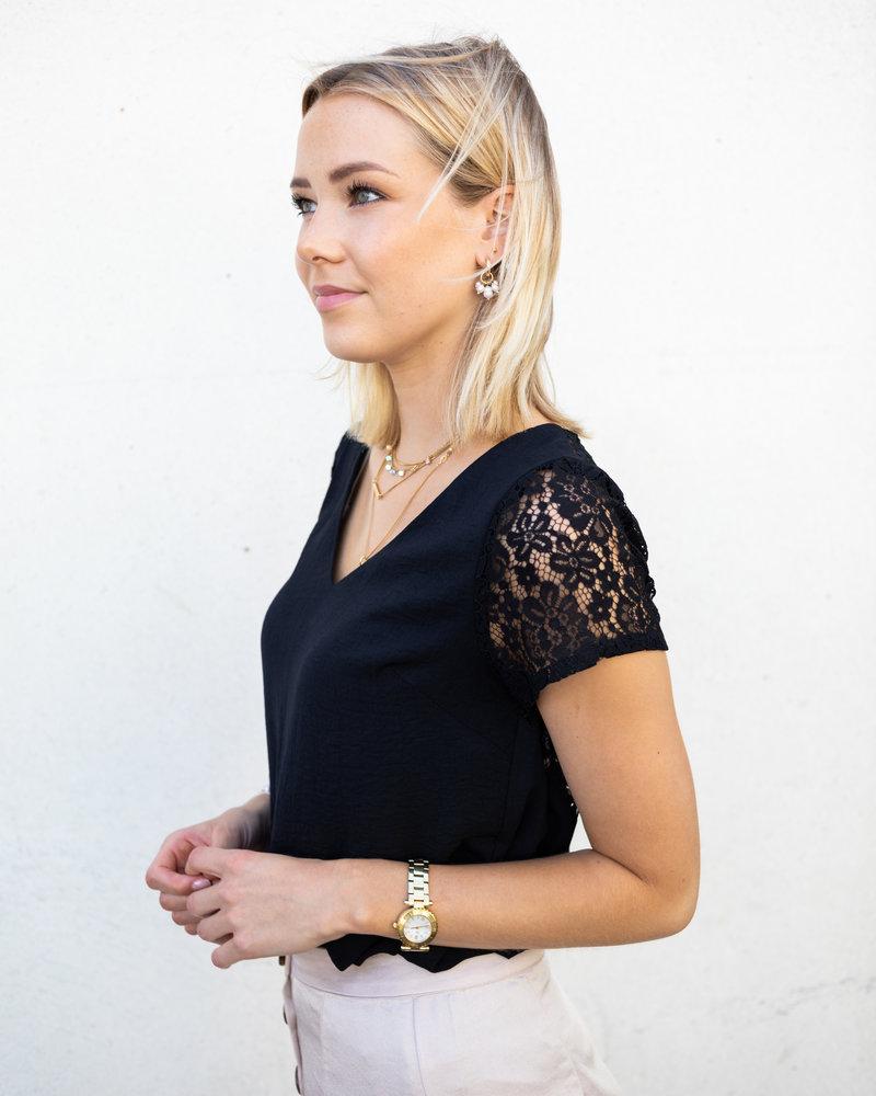 Lace back blouse
