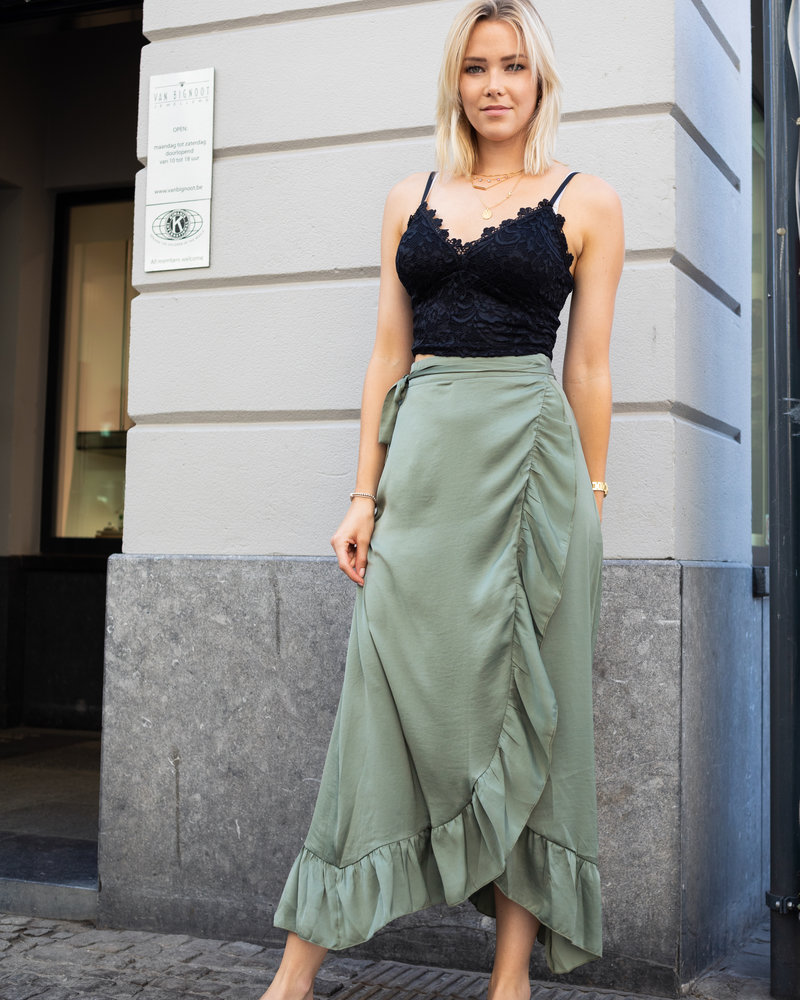 Satin Maxi Skirt Kaki