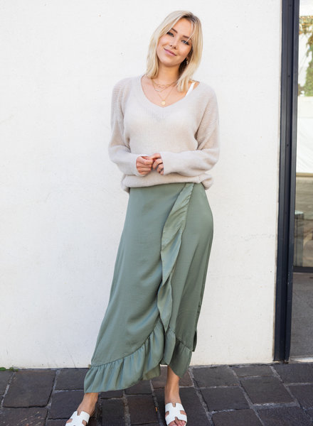 Satin Maxi Skirt Kaki