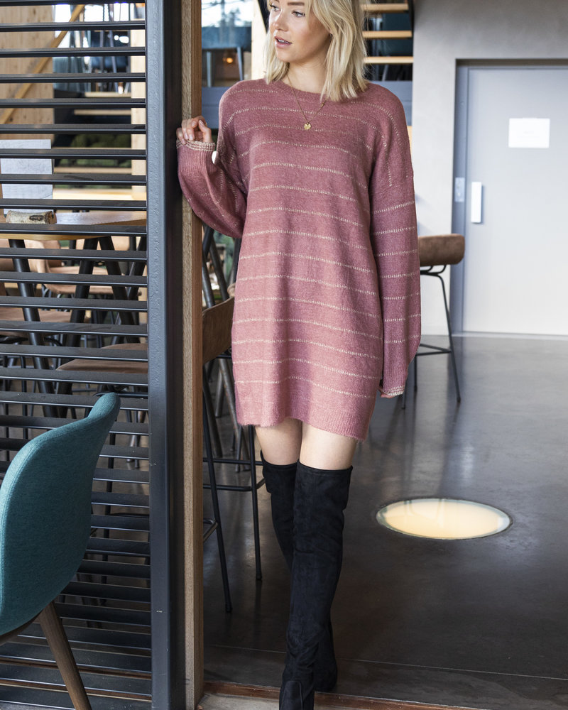 Striped Sparkling Sweaterdress Roze