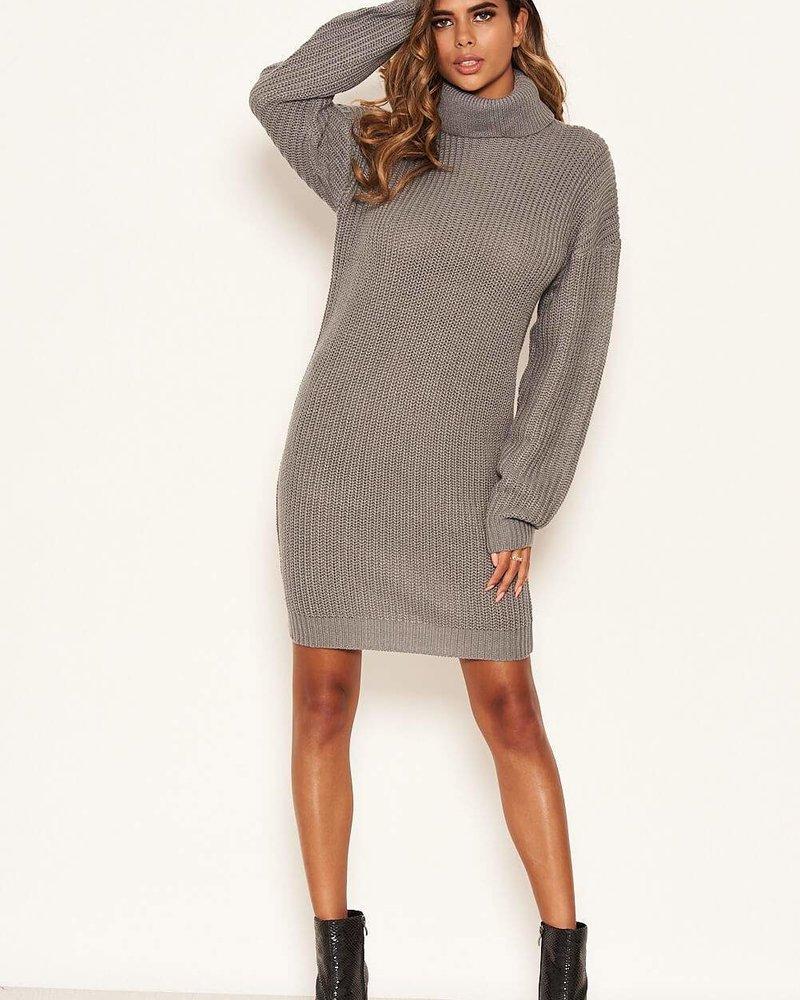 Knitted Jumper Dress Grey