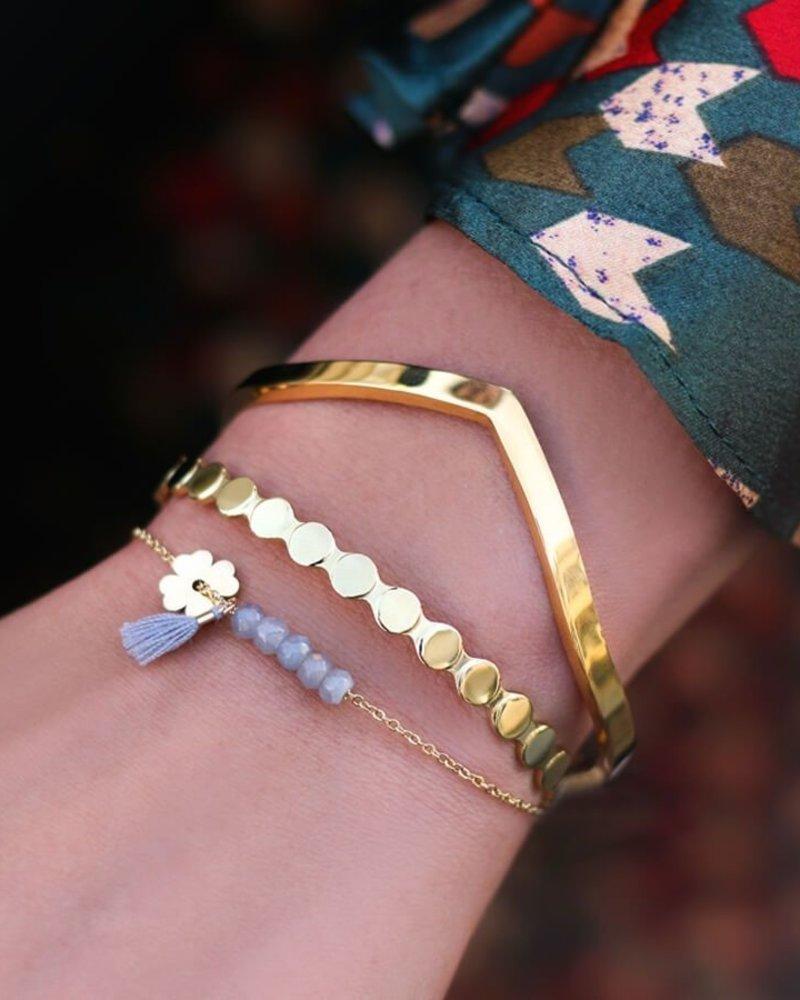 Grijze klaver armband