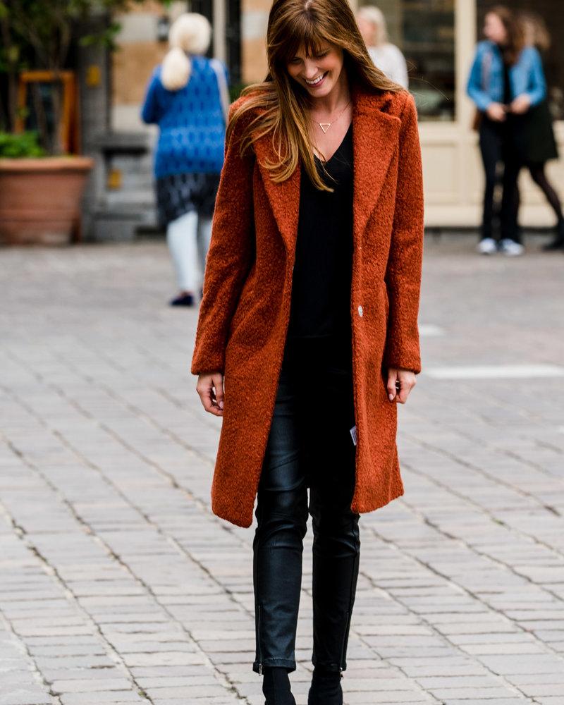 Long Teddy Coat Rust