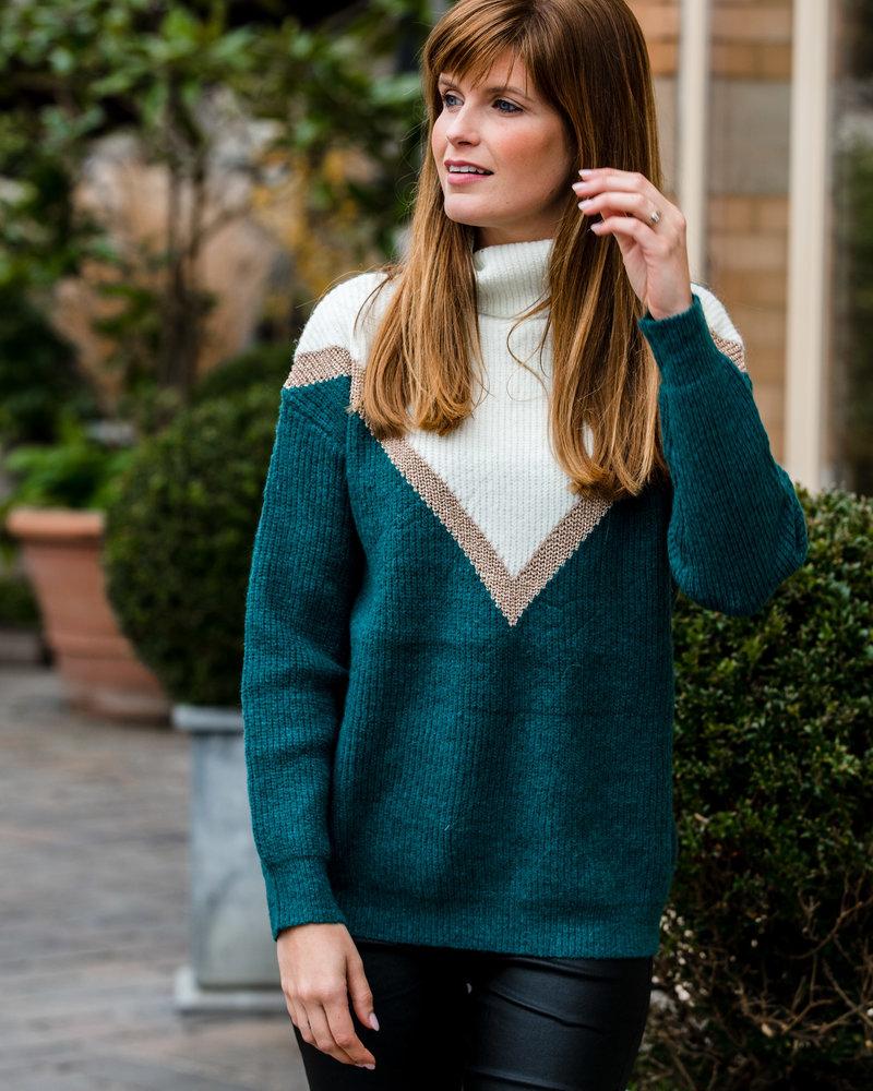 Sparkle V-Sweater Teal