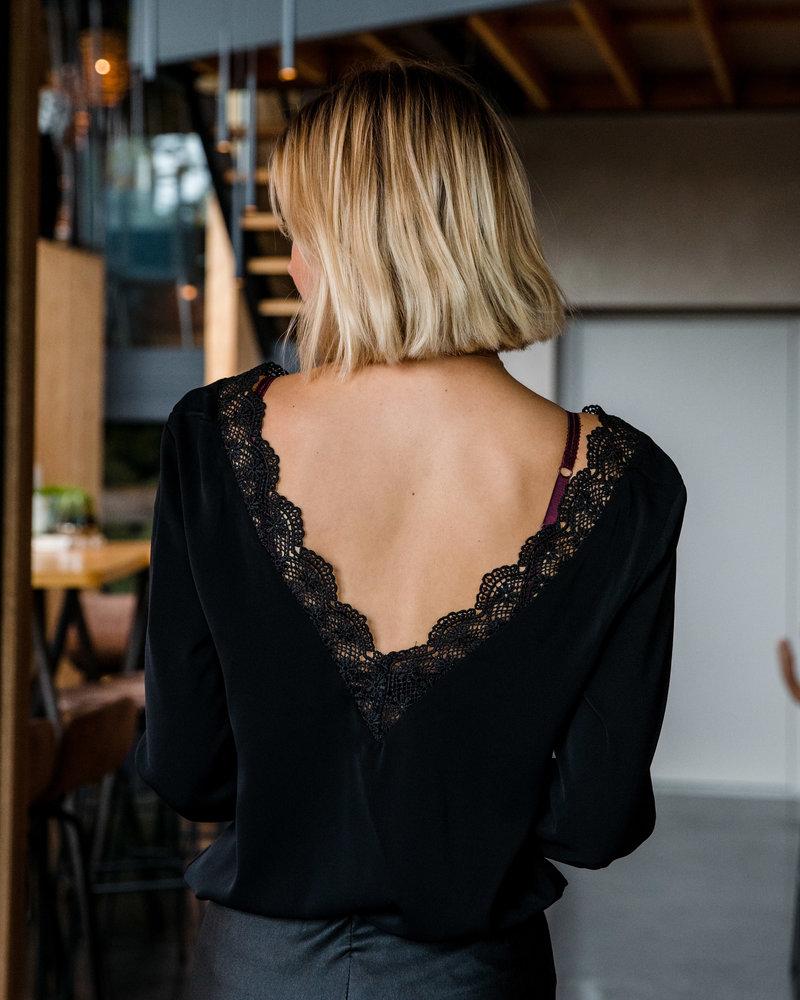 Lace V- Neck Blouse Black