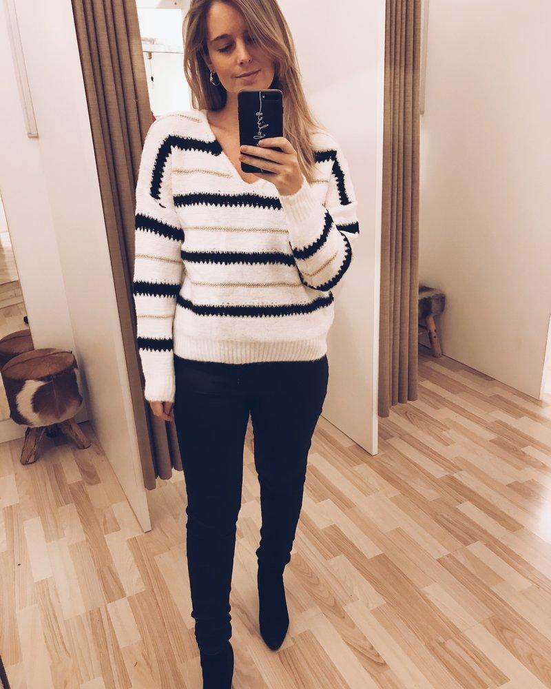 White, Black & Gold Sweater