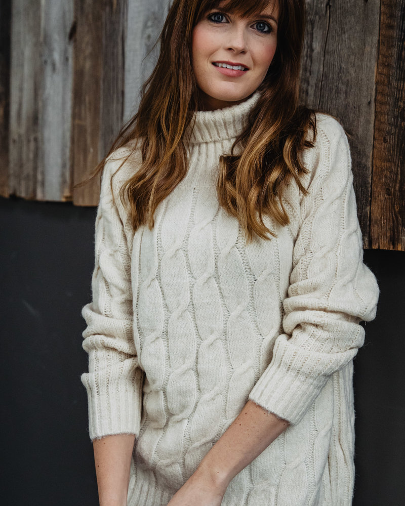 Collar Knitted Sweater Beige