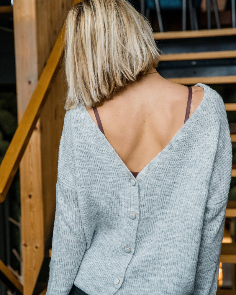 Button Cardi Grey