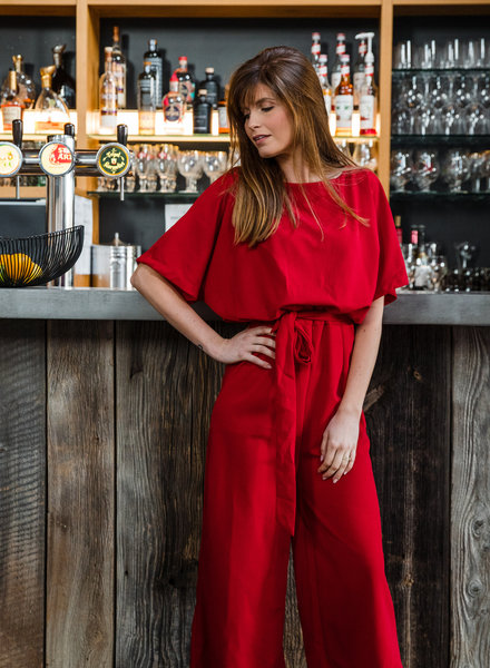 Classy Chic Culotte Jumpsuit Red