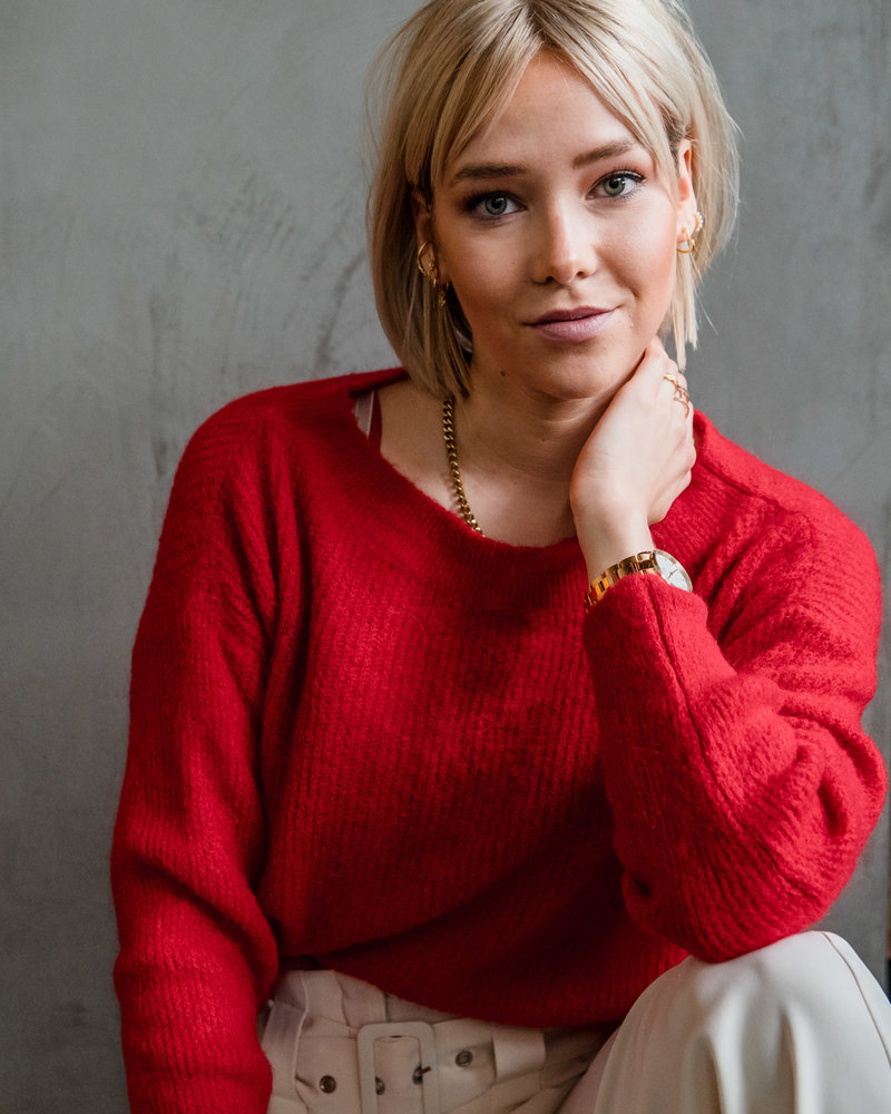 Crop Sweater Red
