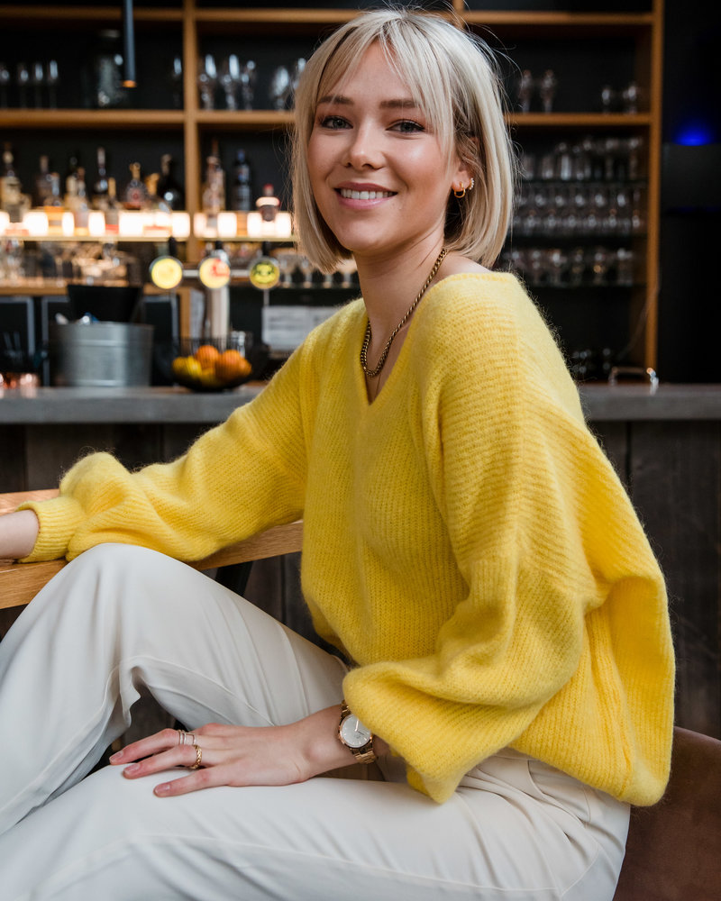 V-Neck Loose Sweater Yellow