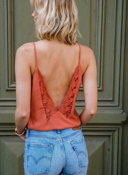 Open Lace Back Top Brique