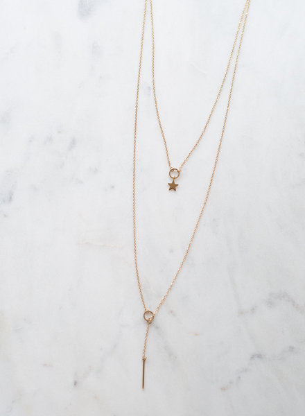 Dubbel Ketting Staafje Ster Goud