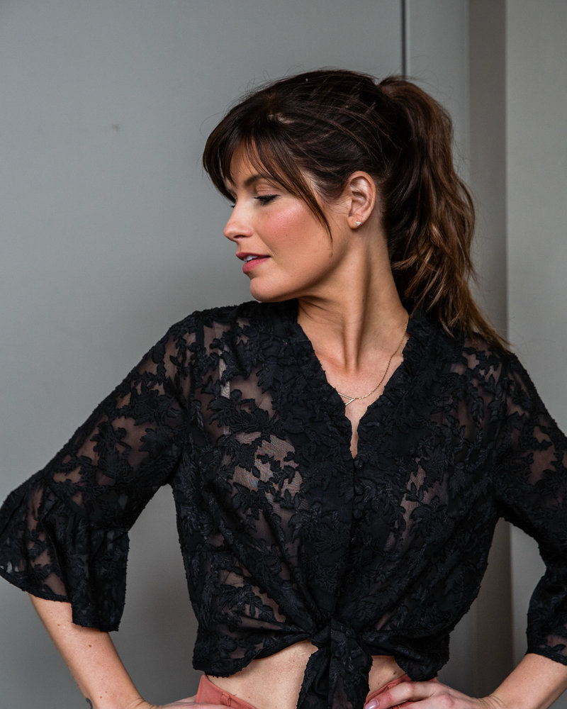 Knotted Black Blouse