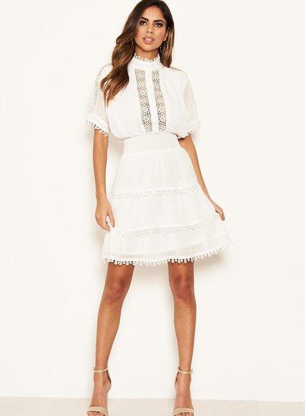 Cream Crochet Detail Dress
