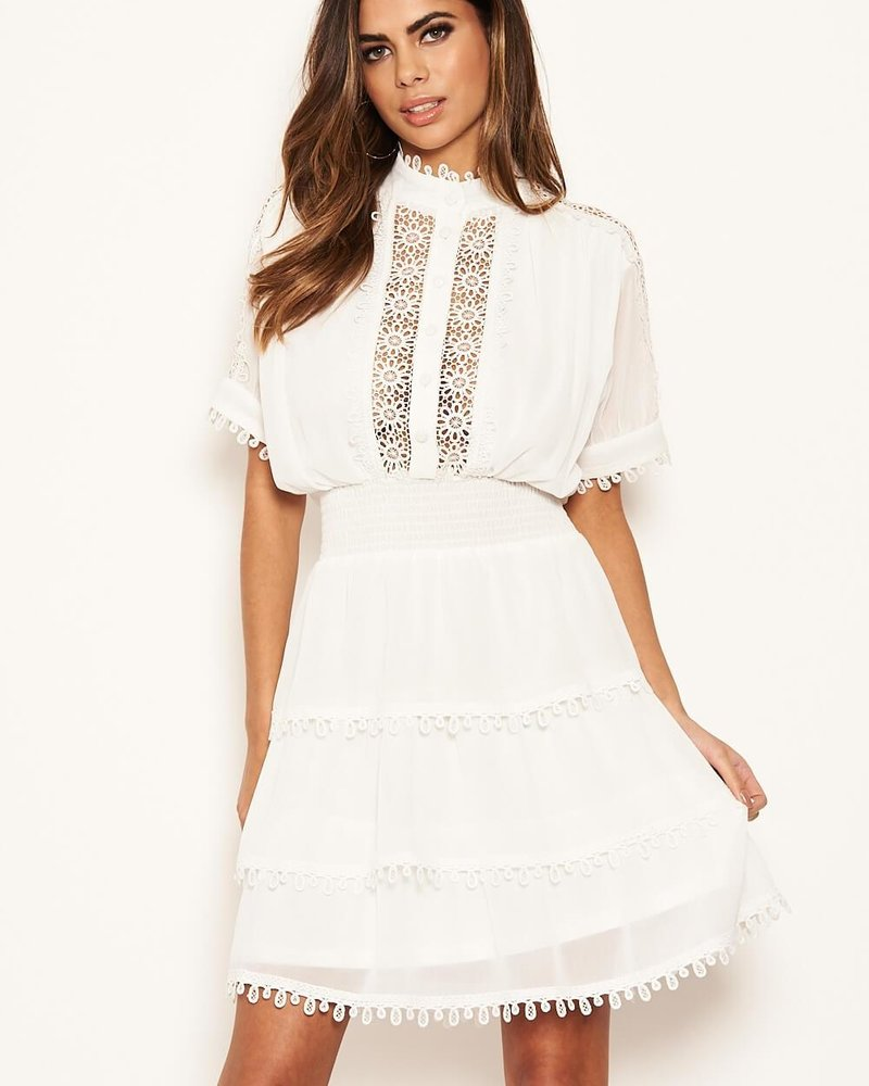 Cream Crochet Detail Dress