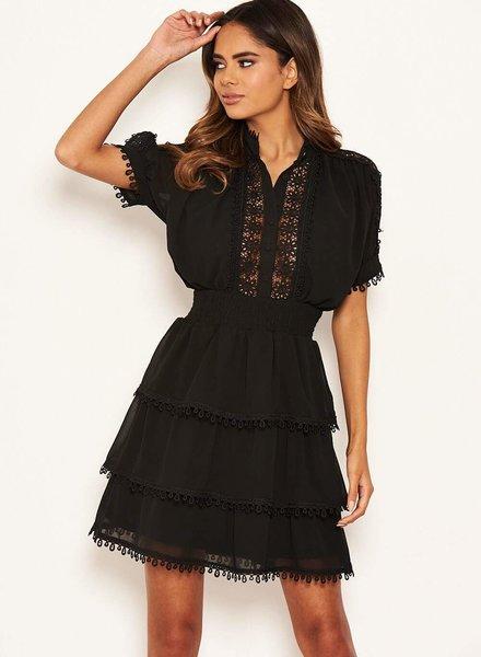 Black Crochet Detail Dress