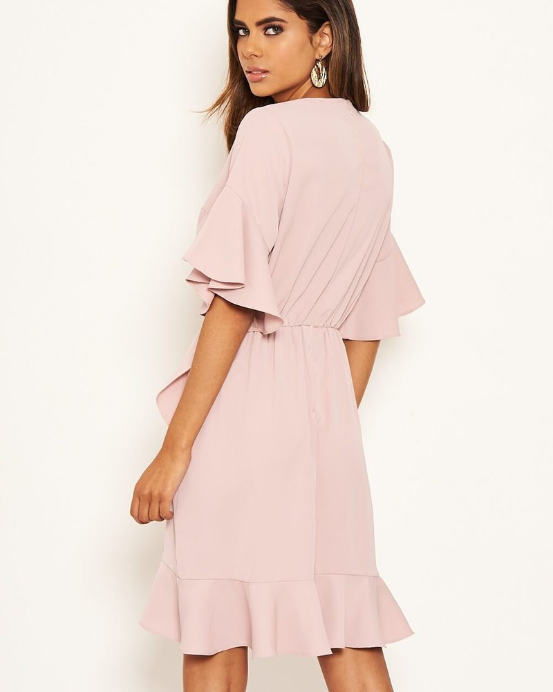 Classy Nude Wrap Dress