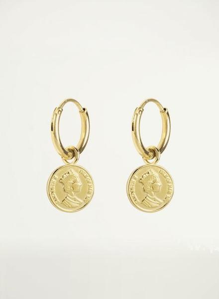 Oorbel fijn muntje goud
