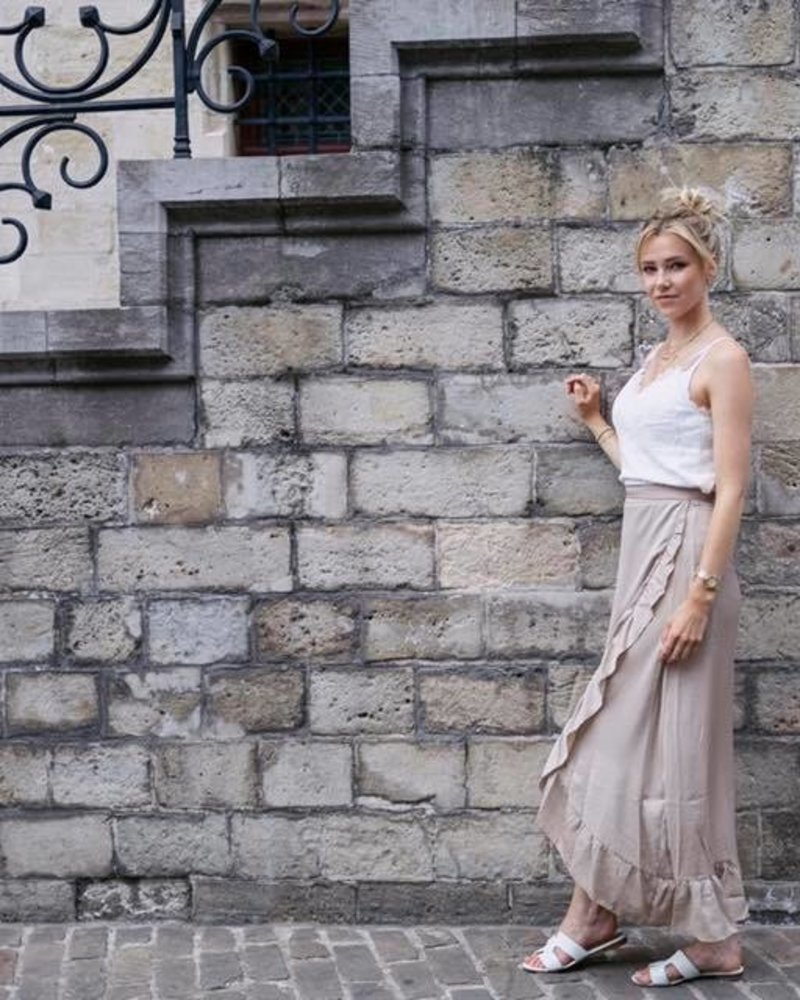Satin Wrap Frill Skirt Beige