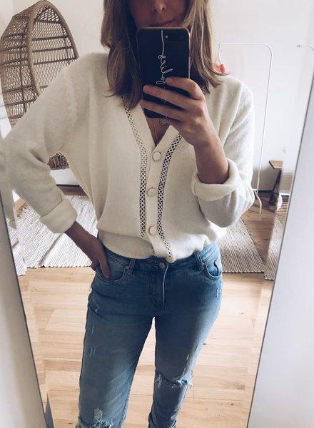 Cardi Crochet Detail White