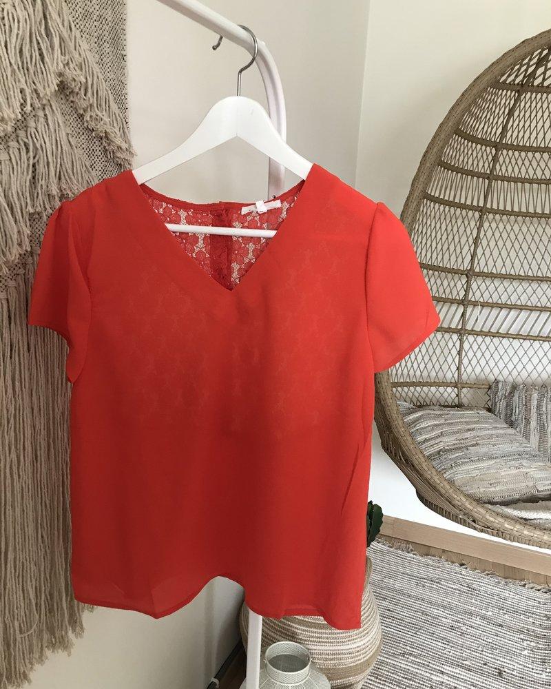 Lace Summer Top Orange