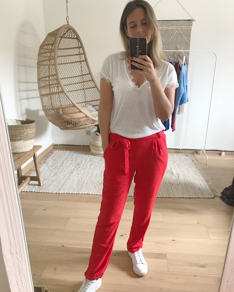 Casual Chic Pants Red