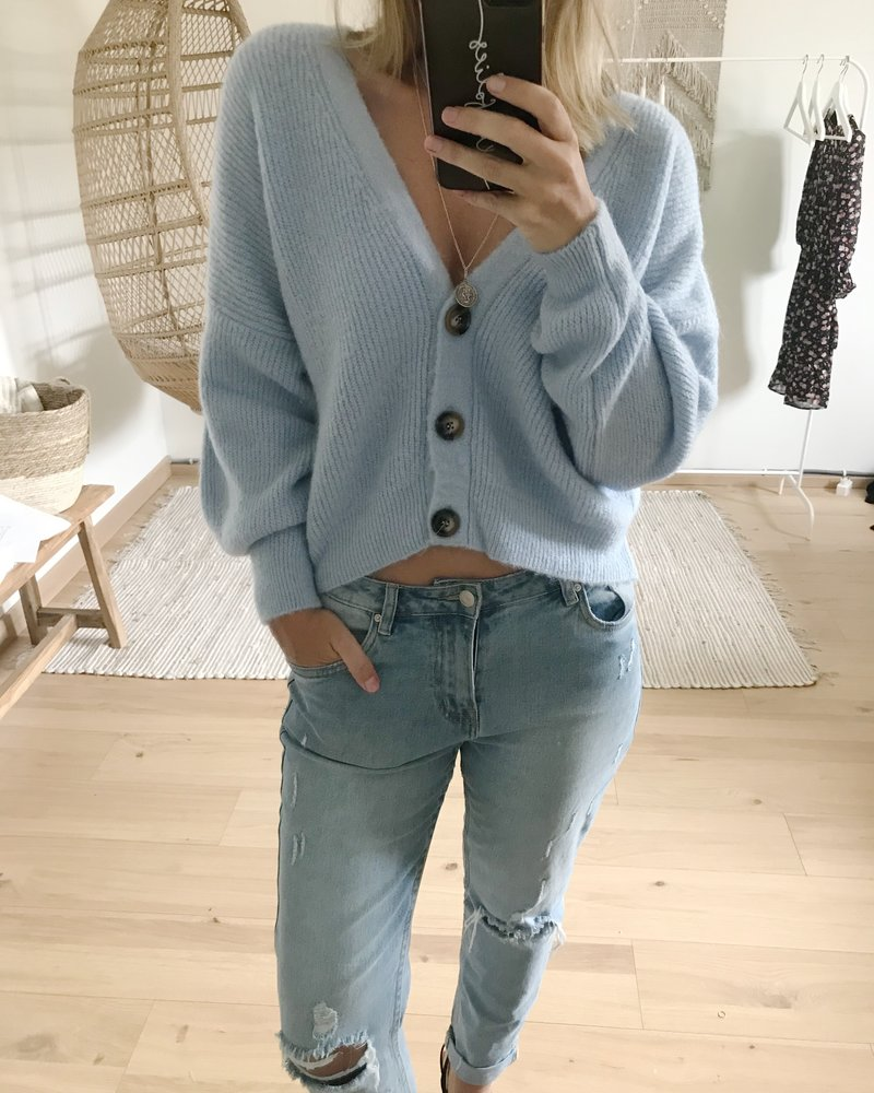 Button Knit Pastelblue