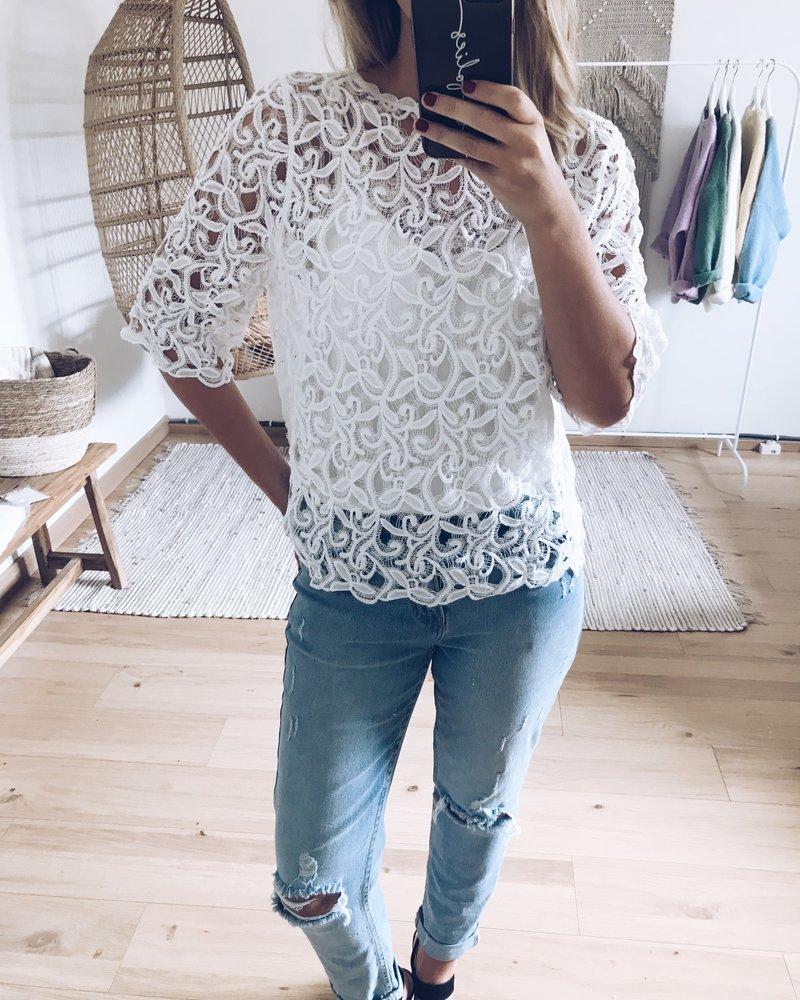 Lace Cardi Top White