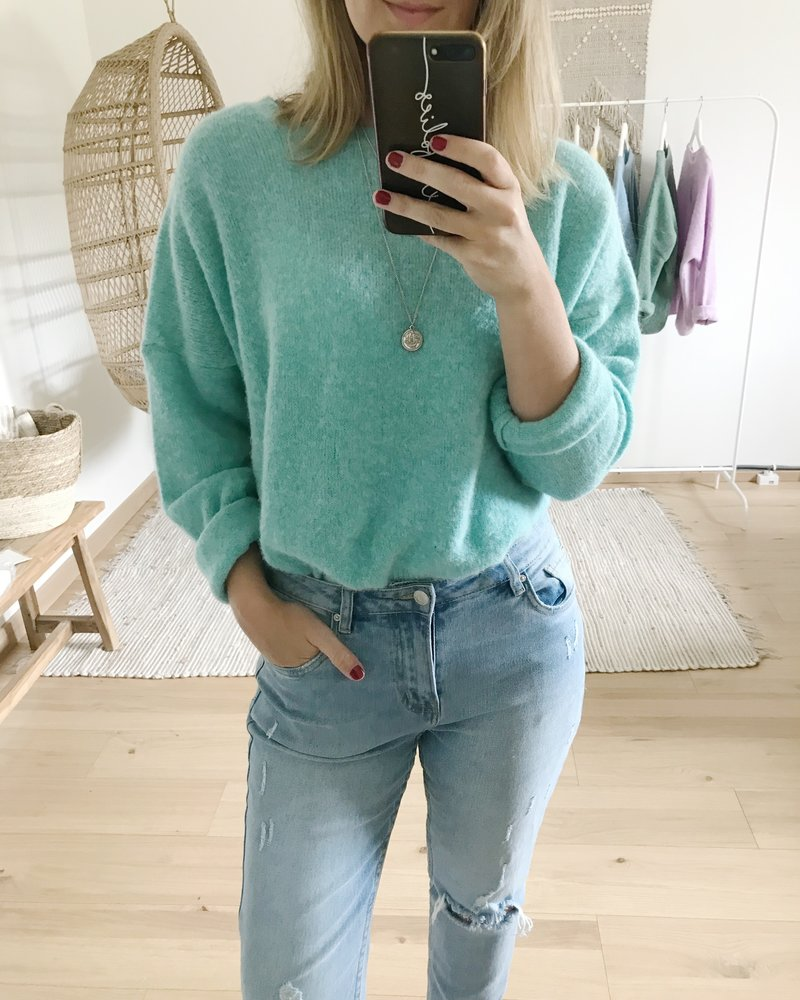 Loose Sweater Summer Green