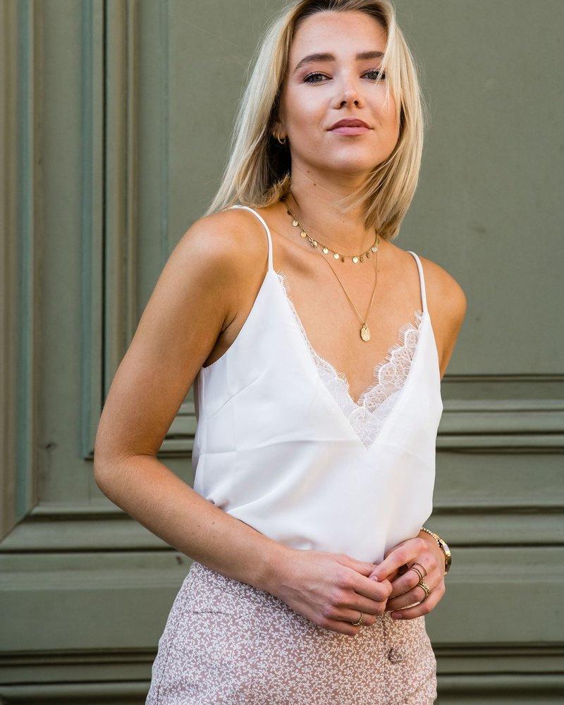 Lace V-Neck Top White