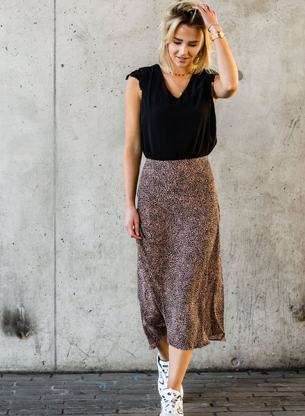 Spotted Satin Maxi Skirt Black