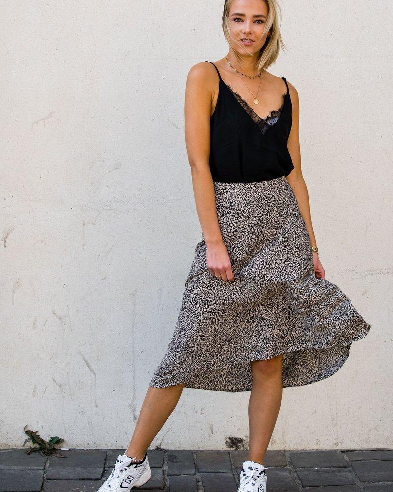 Spotted Satin Maxi Skirt White