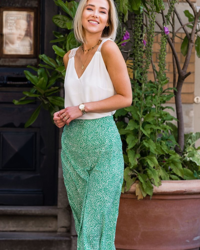 Spotted Satin Maxi Skirt Green