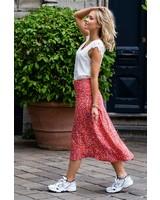 Leopard Midi Slip Skirt Red