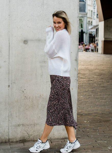 Leopard Midi Slip Skirt Black