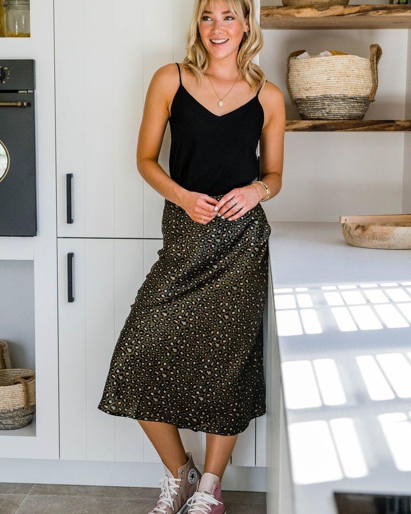 Leopard Fall Skirt Kaki