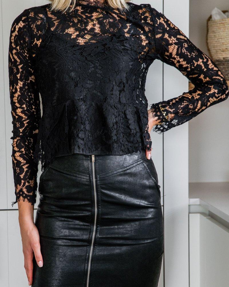 Coated Zip Skirt