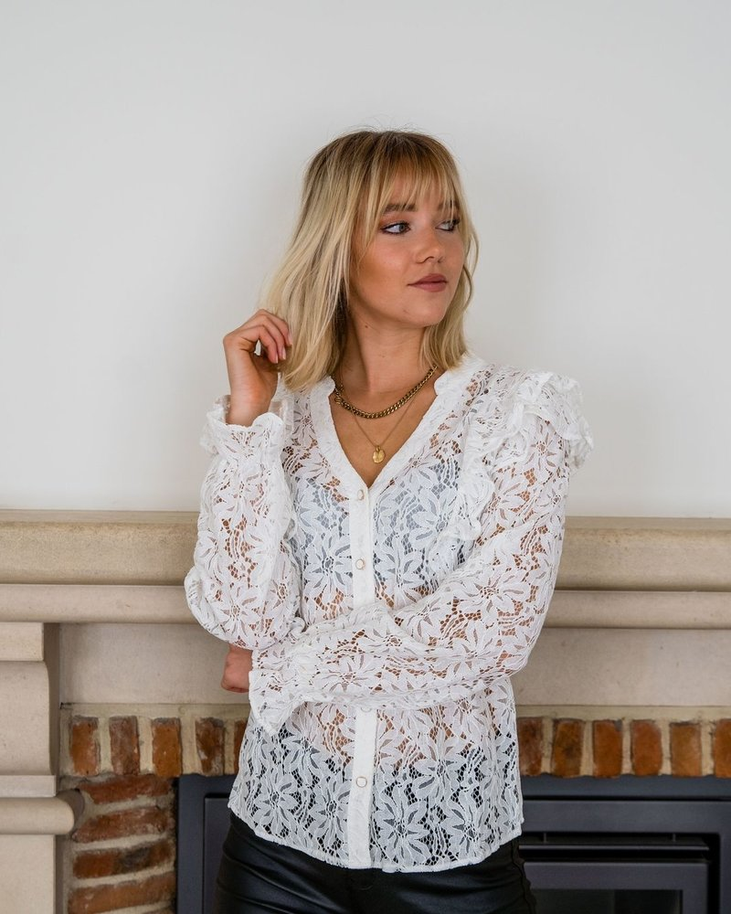 Frill Lace Blouse White