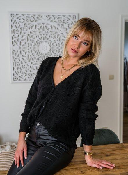 Emilie Button Cardi Black